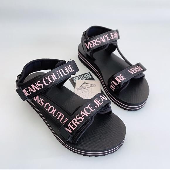 ⭕️ VERSACE JEANS Sandals Black Pink Logo Women's